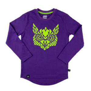 fioletowa bawełniana koszulka z długim rękawem dla dziecka